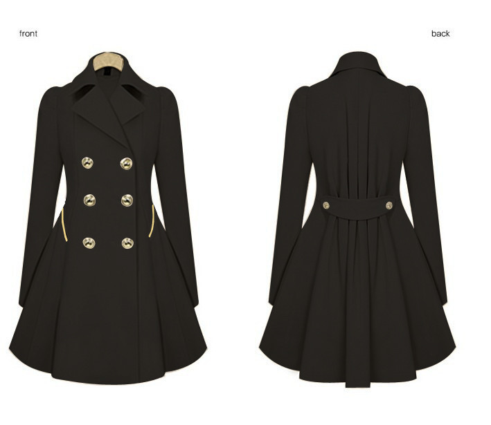 Spring and Autumn Slim Long Commuter   Jacket   XL Women's Fashion Khaki Black Button Long Sleeve   Basic     Jacket   Coat Outwear