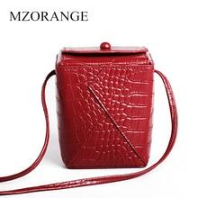MZORANGE Genuine Leather Women Bags Lady Fashion Small Shoulder Crocodile Bucket Messenger