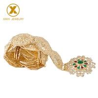 European popular wedding dress metal gem waist chain belt suitable for ethnic women hollow figure gold antique metal belt