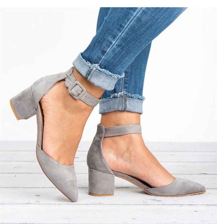 HTB1lq5TbiHrK1Rjy0Flq6AsaFXah Factory Direct Low Heels Sandals Women Ankle Strap Summer Shoes Female Plus Size 43 Block Heels Women Shoes 2019 Casual Sandals
