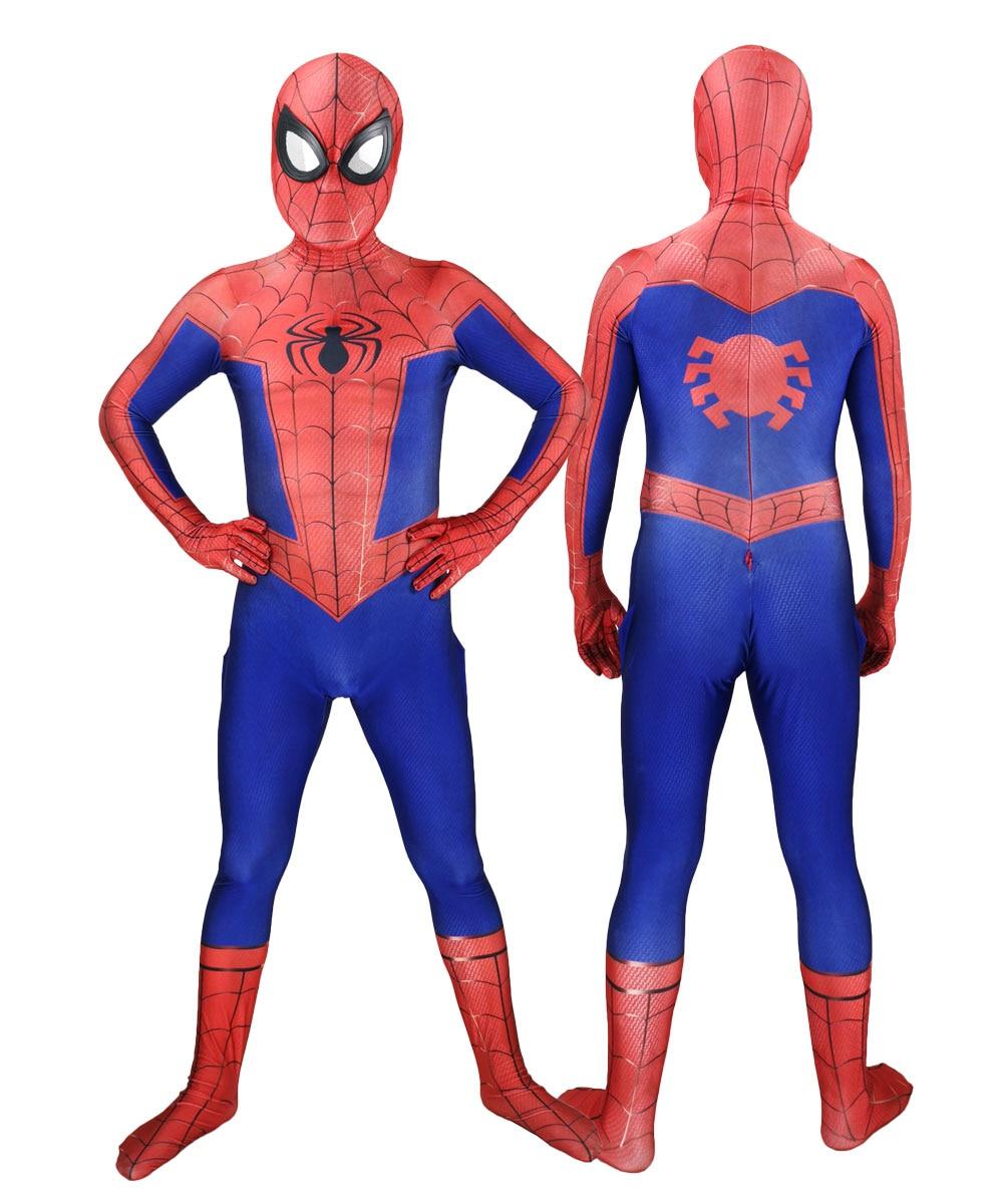 Unisex Classic Spider-Man Into the Spider-Verse Peter Benjamin Parke Superhero Cosplay Costume Spiderman High Quality Bodysuit