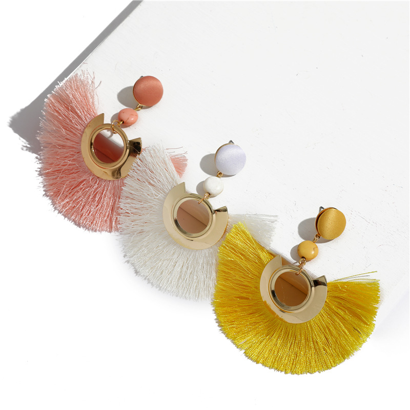 Ethic Hollow Round Sequins Ribbon Tassel Earrings For Women Round Resin Fringe Earrings Wedding Jewelry in Drop Earrings from Jewelry Accessories
