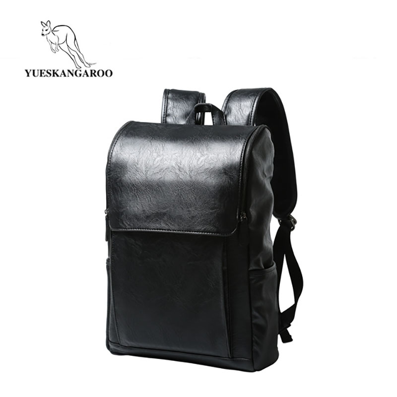YUESKANGAROO Brand PU Leather School Backpack Bag For Man Fashion Men Business Casual Black Travel Schoolbag Male Laptop Bag9367