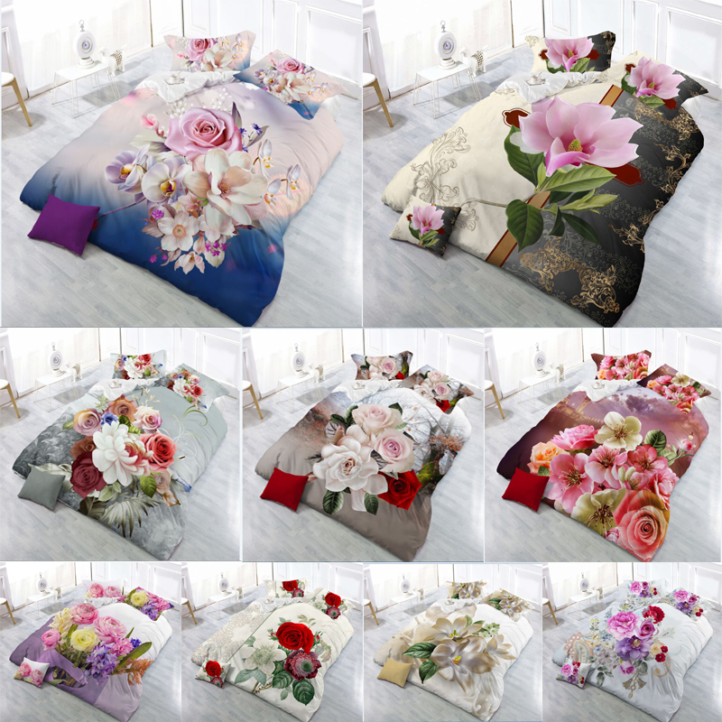 17 Hot Sale 2018 New 3D Bedding Sets Reactive Print Flowers Pattern Quilt Cover Bed Sheet Pillow Case 4PCS