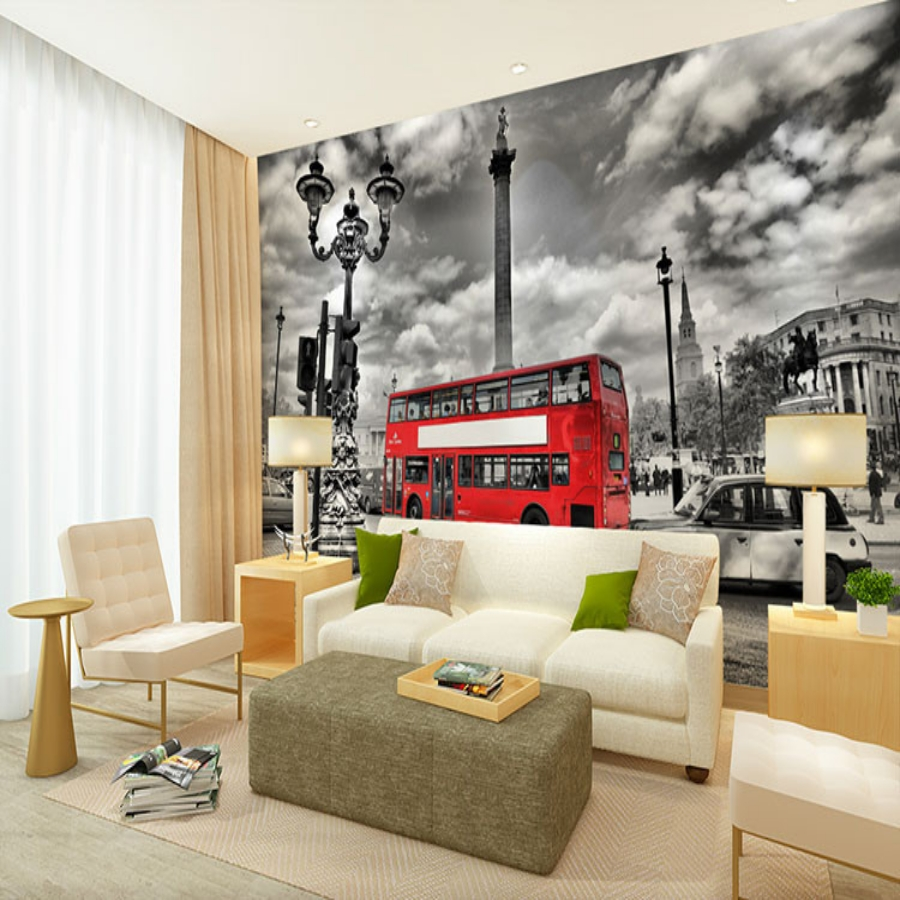 Beibehang London Street Red Double-decker Bus Graphic Designs Large Decorative Wall Murals Papel De Parede 3d Photo Wallpaper