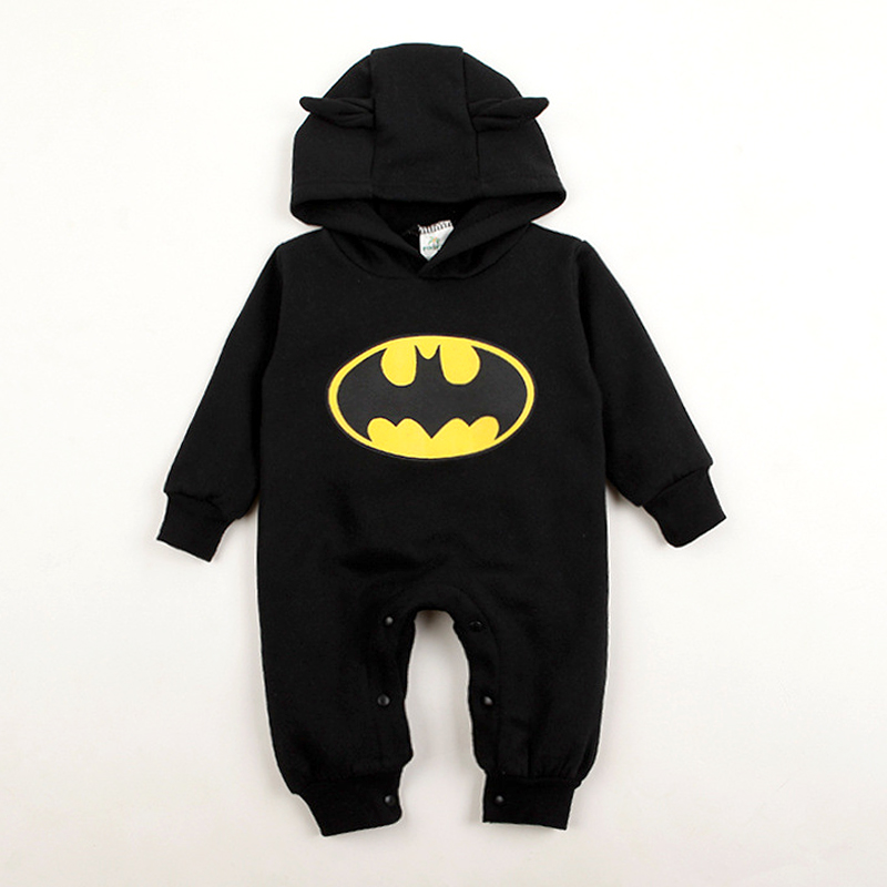 Baby Girl Rompers Batman Toddler Hoodies Newborn Baby Boy Clothes Winter Romper Warm Clothing Set Jumpsuit Long Sleeve With Hats newborn rompers baby boy romper winter long sleeve cotton clothing toddler baby clothes jumpsuit warm cartoon baby boys pajamas