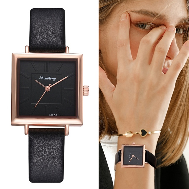 New Top Brand Square Women Bracelet Watch Contracted Leather Crystal WristWatche