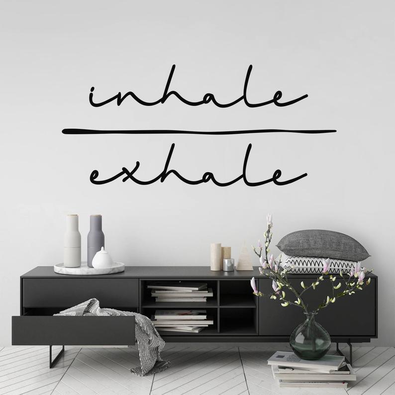 Inhale exhalation настенная художественная наклейка с надписью «Spirit quote» Съемная Виниловая наклейка для спальни, гостиной, домашнего декора обои с рисунком 2WS39-in Настенные наклейки from Дом и животные