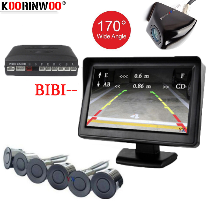 Koorinwoo Dual Channel Car Parking Sensor Alert Front Back 6 Flat Sensors Parktronic For Car Parking
