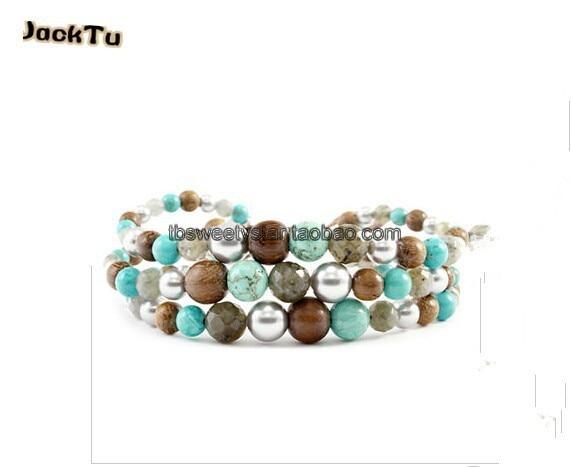 2017 JackTu 8mm turquoise beads with bronzite nylon single wrap bracelet