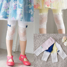 2016 Children'S Clothing Trousers Female Child Thin Baby Child Girl Cotton Capris Bow Partchwork Leggings