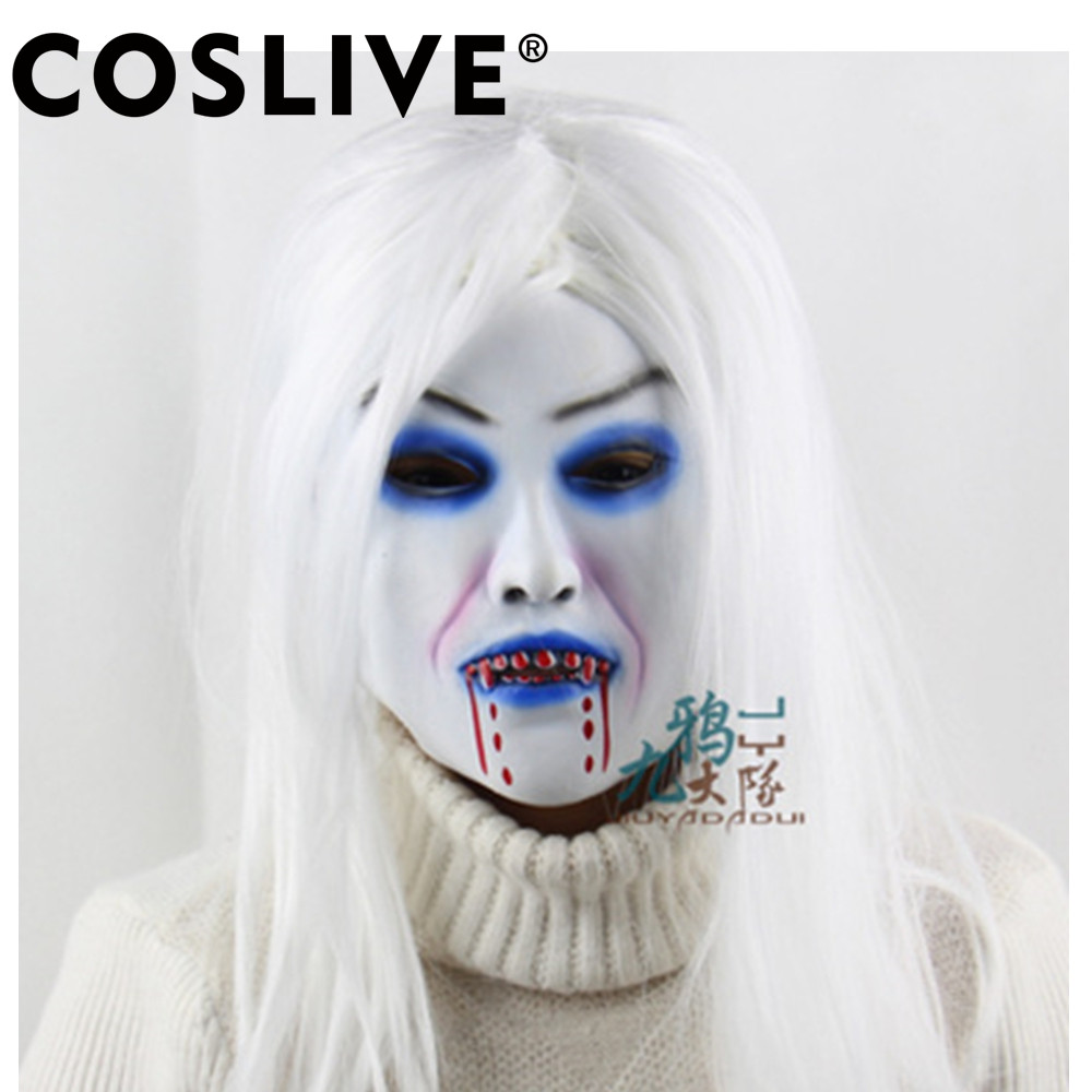 Coslive Christmas White Hair Witch Latex Mask Horror Full Face Grimace Halloween Holiday Party Accessories Cosplay Props