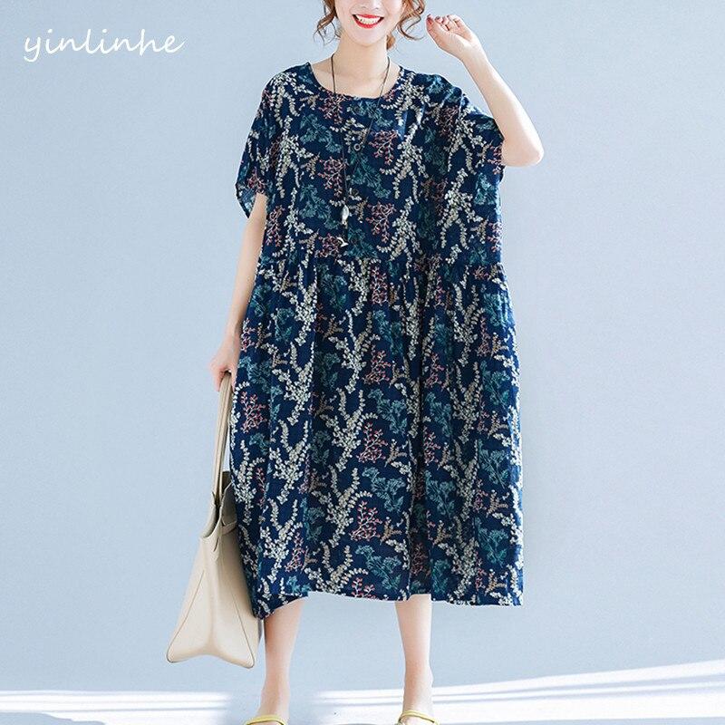 Yinlinhe Cotton Linen Long Women Dresses Summer 2018 Short