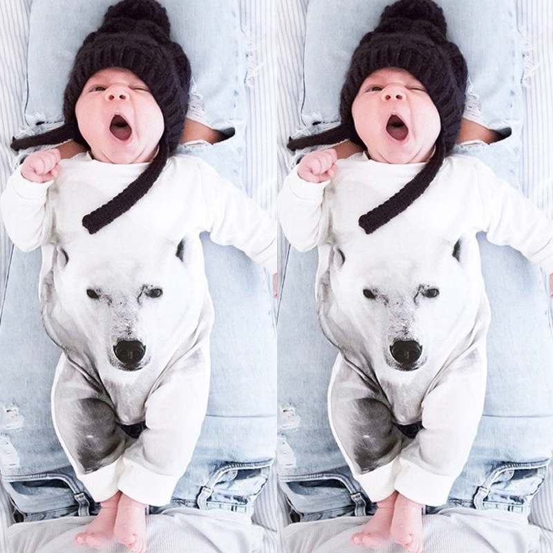 Spring Autumn Cotton Bear Wolf Baby Boys Girls Clothes Climb Rompers Infant Cute Jumpsuit toddler suit 9-24M newborn baby girls rompers 100% cotton long sleeve angel wings leisure body suit clothing toddler jumpsuit infant boys clothes