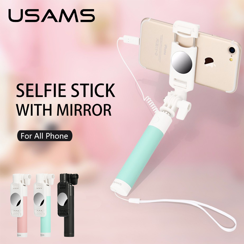 Selfie Stick USAMS Wired Extendable Handheld Monopod Tripod Selfie Mirror for iPhone 4 5 6 7