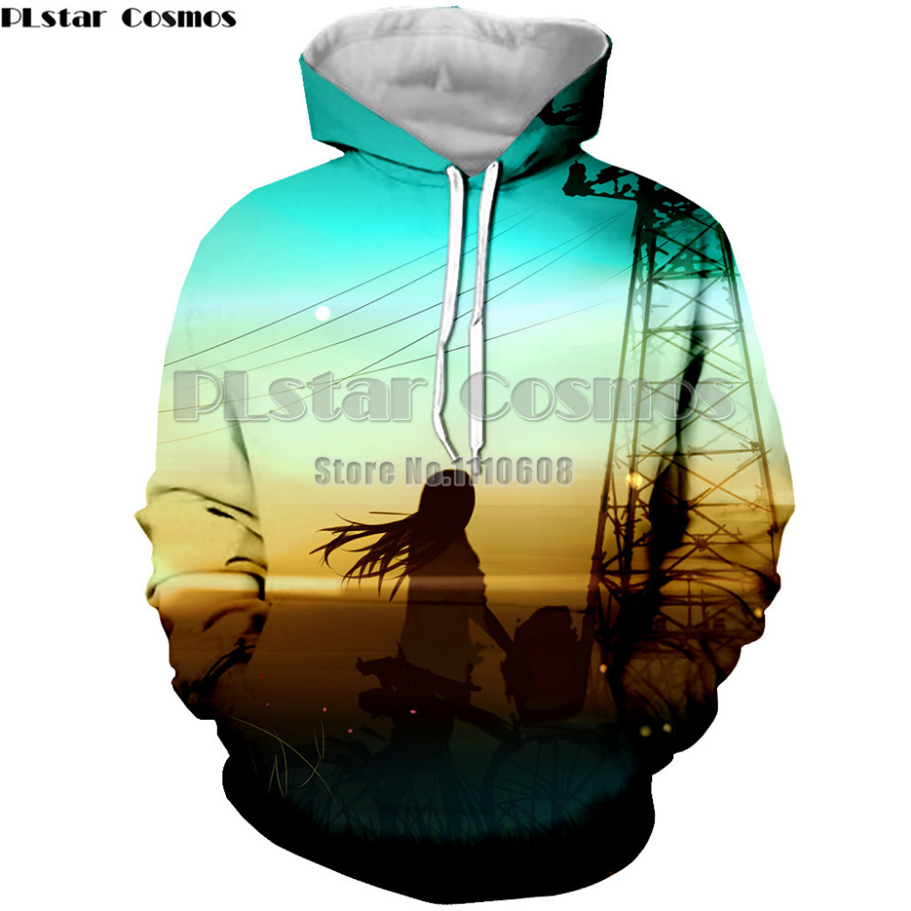 PLstar Cosmos 3D Sweatshirts Men/Women Hoodies With Hat Print GIRL Autumn Loose Thin Hooded Hoody Tops
