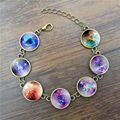 Handcrafted Vintage Bracelet Galaxy Space Glass Cabochon Picture Fashion Jewelry Ancient Bronze Chain Link Bracelets for Women