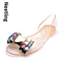 Ekoak 2016 New Fashion Jelly Shoes Women Flat Sandals Transparent Peep Toe Crystal Women Summer Beach