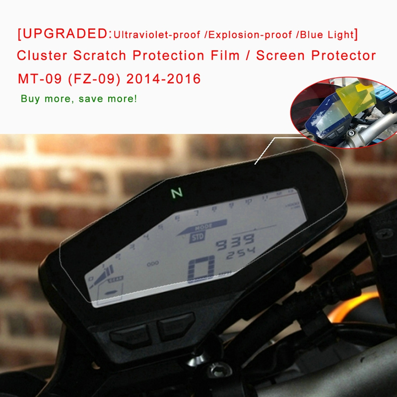 FZ-09 Dashboard screen protector YAMAHA MT-09 2 x Ultra Clear