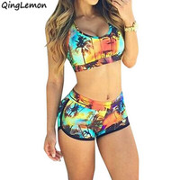 Newest Sexy Women Crop Tops High Waist Shorts Floral Bikini Set Beach Swimwear Swimsuit S M