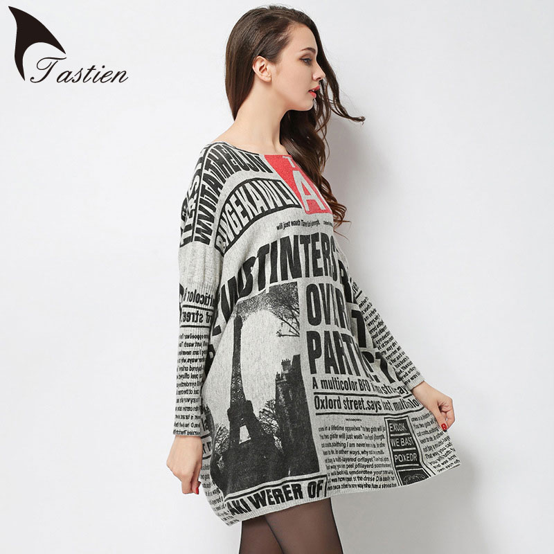 TASTIEN Brand Hot Sale Spring Autumn Women Knitted Sweater Large Size For Fat Thin Fashion Letter Print Pullovers Lady Knitwear