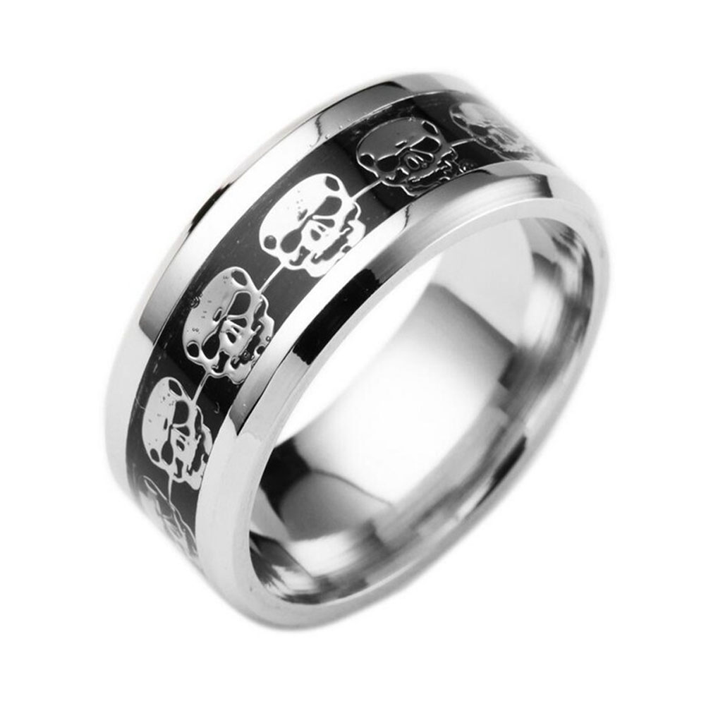Beautiful  Handsome Store New Design Ring for Gift Mens Jewelry Never Fade Stainless Steel Skull Ring Gold Filled Blue Black Skeleton Pattern Man Biker