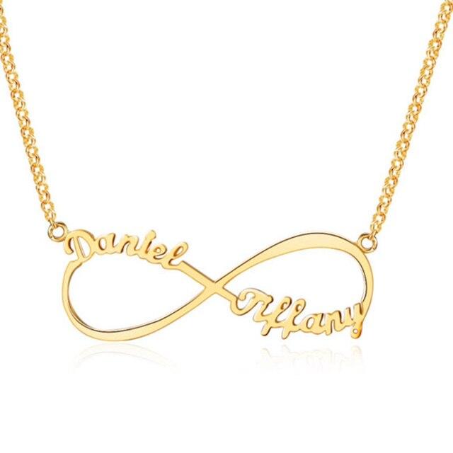 Romantico Personalizzato Infinity Nome Ciondolo Personalizzato Due Targhetta Promessa Collane di Fascino di san valentino Regalo di Giorno Dei Monili Delle Donne BFF