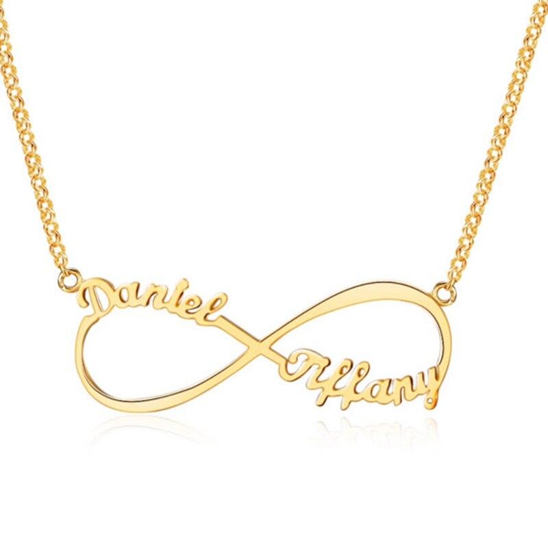 Romantische Custom Unendlichkeit Name Halskette Personalisierte Zwei Typenschild Versprechen Charme Halsketten Valentinstag Geschenk Frauen Schmuck BFF