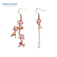 SANSUMMER Sakura Women Drop Earrings 2019 New Design Long Earrings Asymmetric Personality Lady Flower Girl Drop Earrings 6667 pair of stylish rhinestone flower asymmetric design earrings for women