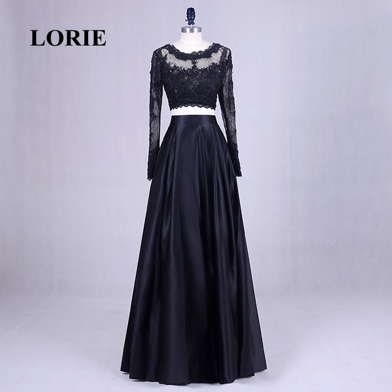 Lorie Two Piece Prom Dress For Graduation Long Sleeve Lace Evening