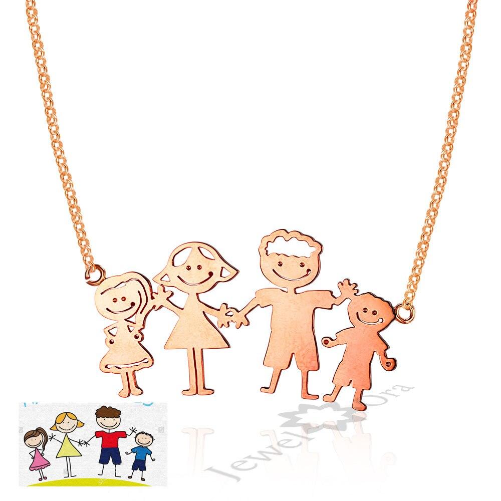 Personnalisé Famille Chidlren Cadeau Idées Personnalisé Votre Collier Famille Pendentif Cadeau 925 En Argent Sterling Amour Famille Dessin