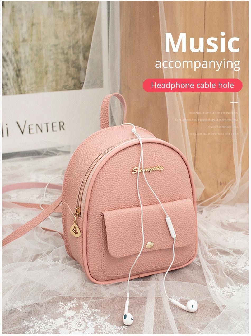 HTB1lq7KXA9E3KVjSZFGq6A19XXaw 2019 Mini Backpack Women Korean Style PU Leather Shoulder Bag For Teenage Girls Multi-Function Small Bagpack Female Phone Pouch