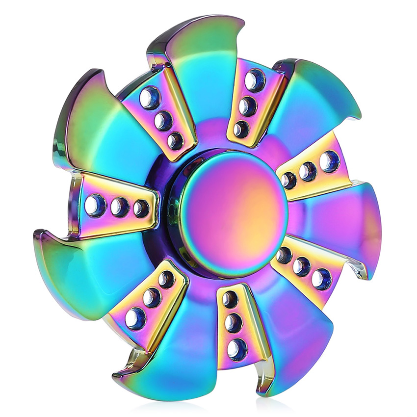 Hand Spinner Rainbow Heptagonal Zinc Alloy Metal Fidget Spinner Reliever Pressure Reducing Funning Toy