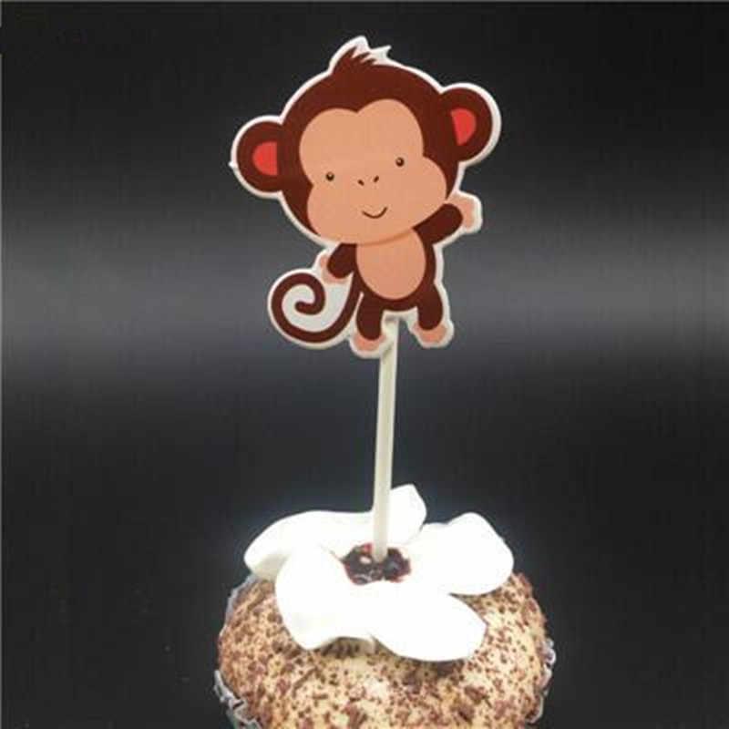 10 piezas de mono tema Cupcake Toppers selecciones tema dibujos animados fiesta decoraciones bebé ducha niños cumpleaños fiesta favores