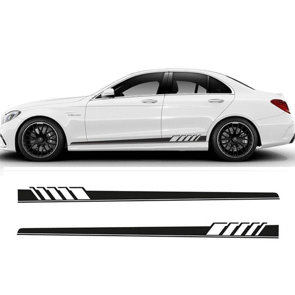 Race car sticker design - Gloss Black Auto Side Skirt Car Sticker Amg Edition 507 Racing Stripe Side Body Garland For