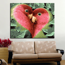 Unique Artistic Heart Birds Picture By Numbers DIY Animal Painting Kits Hand paited On Linen Canvas Modern Home Decor Wall