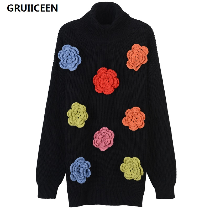 GRUIICEEN Appliques by hand sweater korea knitted sweater new 2017 winter turtleneck women long sleeve sweater long style