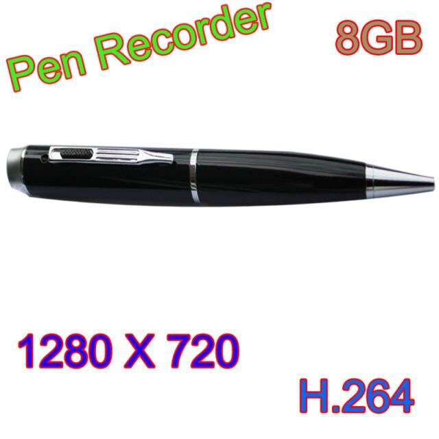 8GB profession Pen HD Mini DVR camera 1280x720p H.264 MOV Audio CamcorderFree Shipping