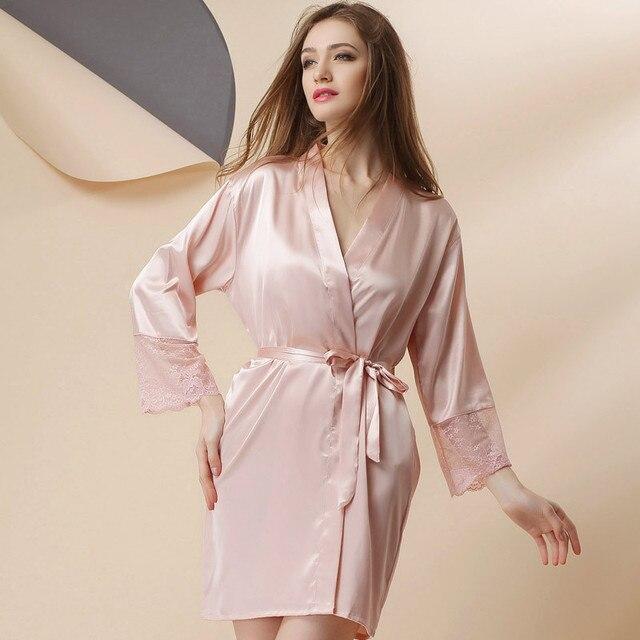 Новая коллекция весна имитационные шелковые кружева Ночной Рубашке Пижамы женские дамы сексуальные пижамы халат Главная Обстановка костюм