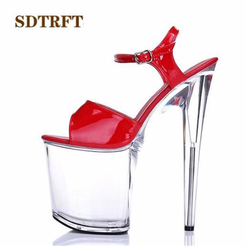 SDTRFT Plus:34-44 Multicolor fashion shoes woman sexy transparent Platforms Open Toe 20cm ultra thin high heels platform sandals