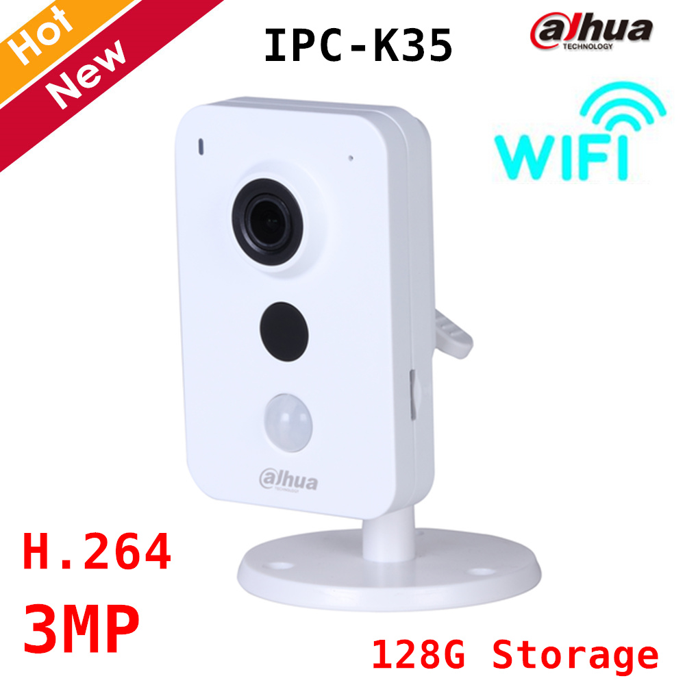 Dahua 3MP Wifi IP Camera IPC-K35 Wifi wireless camera Support max 128G storage Easy4ip cloud H.264 IR Distance 10m Security cam