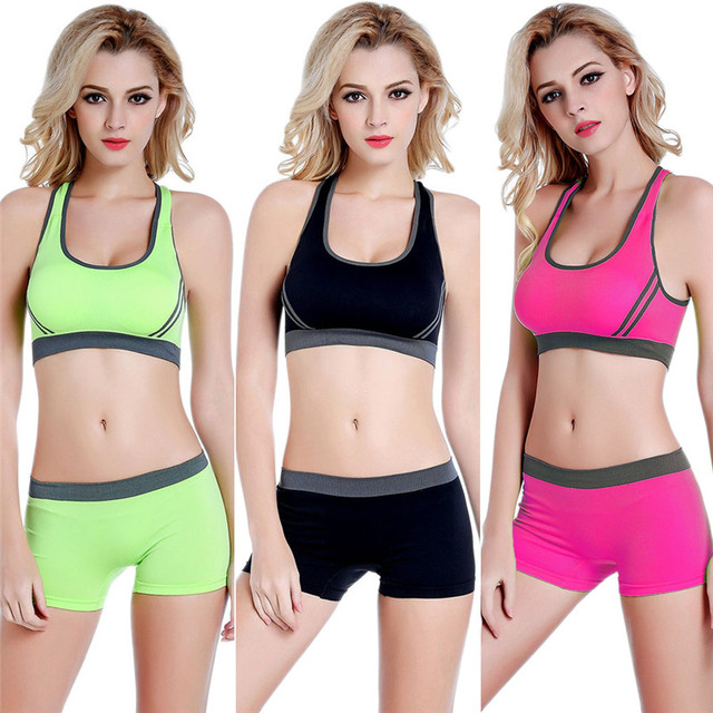 2fc9fcced53 HimanJie Women Sportswear Tank Top Breathable Seamless Sports Bras and Stretch  Shorts For Running Fitness Gym Workout Yoga Sets