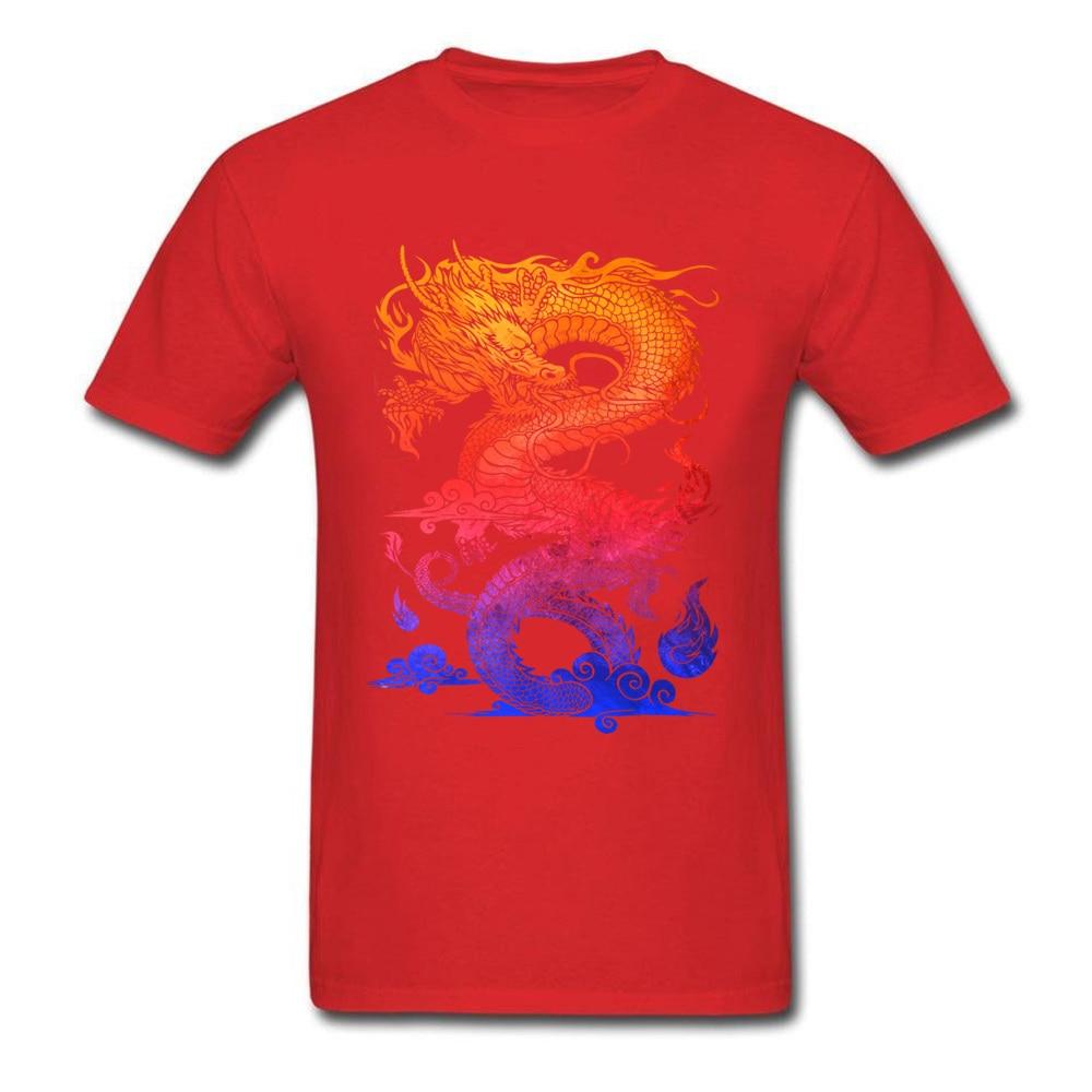 Прочный Шарм Новые мужские футболки Красочные Спортивные футболки китайский дракон и ткань одежда черные рубашки - Цвет: Red