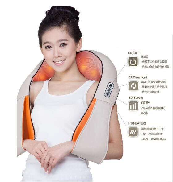 Shiatsu Cervical Back and Neck Massager Shawl Electric Roller Heat Device Manual China Home Car Massage Machine electric antistress therapy rollers shiatsu kneading foot legs arms massager vibrator foot massage machine foot care device hot