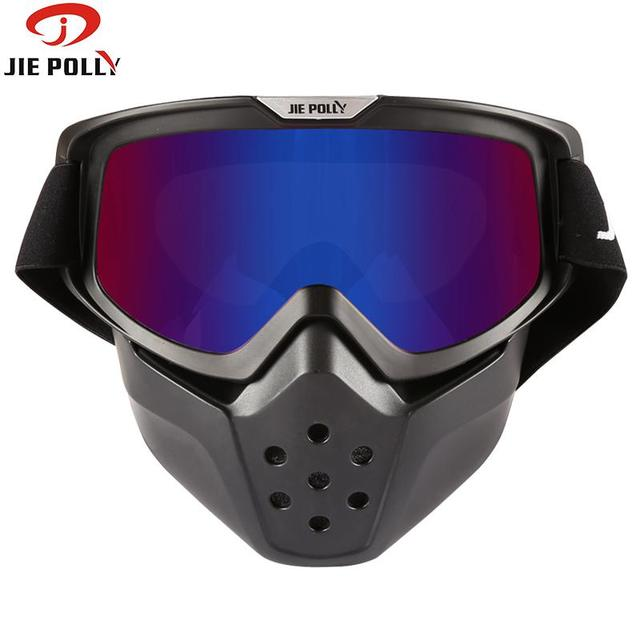 b243f50889a Jiepolly Bicycle Sunglasses Safety Eyewear Anti-Scratch Dustproof Motocross Motorbike  Detachable Goggle Mask Helmet Glasses