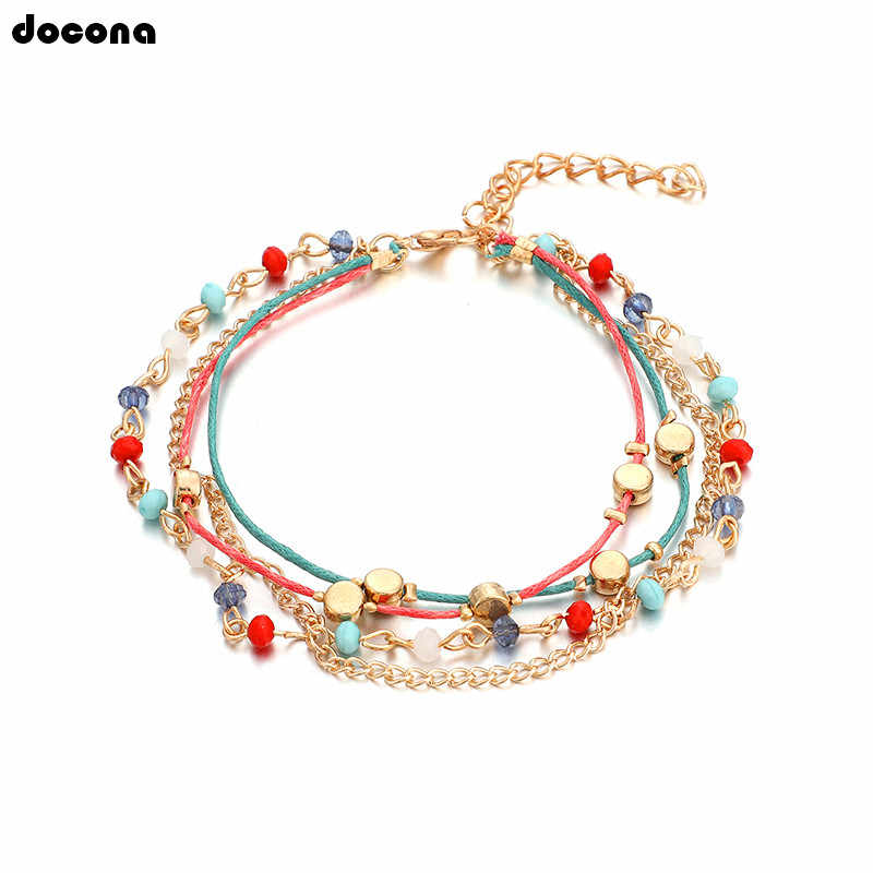 Docona богемный красочный ножной браслет из бусин набор для женщин Девушка Красочный Веревка многоярусный ножной браслет бижутерия для ног 8177