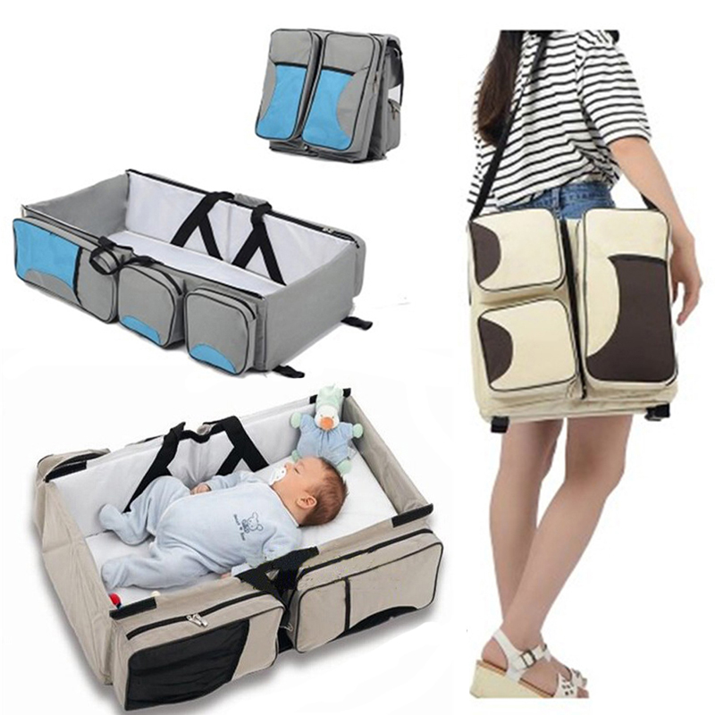Travel Portable Bassinet large capacity Diaper Bag Multifunction Portable Changing Station Travel Crib Diaper Bag travel bed ...