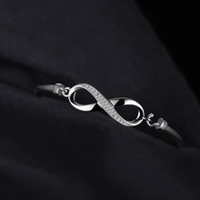 Infinity Love Crown Sterling Silver Bangle For Women