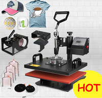 Sales Promotion New Design 8 In 1 Combo Heat Transfer Machine,Sublimation/Heat Press Machine,Printer for Mug/Cap/T shirt/Phone