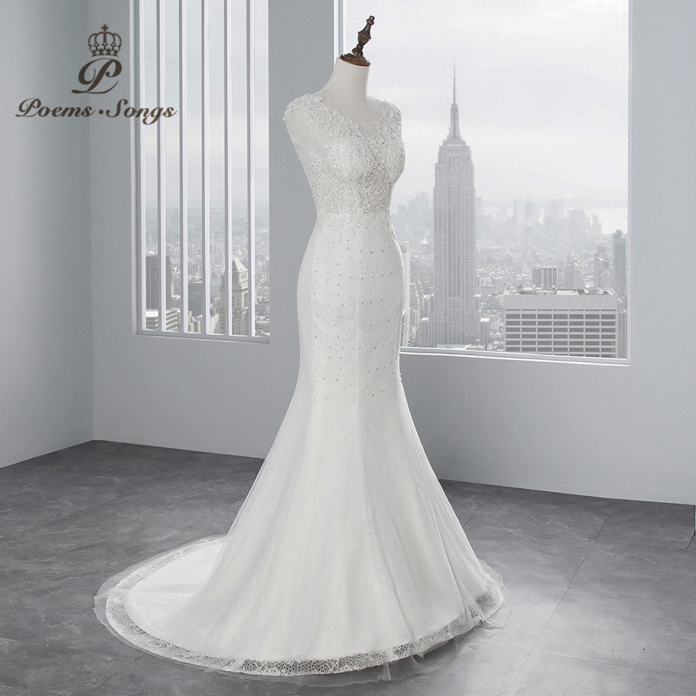 Image 2 - PoemsSongs real photo 2018 new style Sexy chest Mermaid wedding dress  No sleeves lace Wedding Gown Vestido de noiva-in Wedding Dresses from Weddings & Events